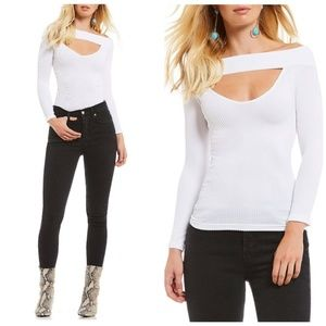 Free people cut out ribbed knit top